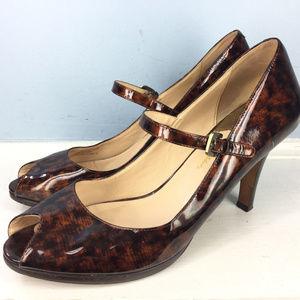 COLE HAAN 10.5 Brown heels peep Toe Mary Jane